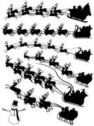 Santa Claus In A Sled Collage - stock illustration