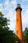 Currituck Beach Lighthouse in Carolla, NC - stock photo