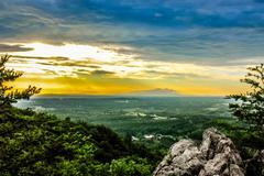 beautiful scenery from crowders mountain in north carolina - stock photo