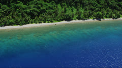 Aerial of deep blue pacific ocean coastline with dense forest Stock Footage