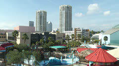 Looking at Channelside in Tampa from the port Stock Footage