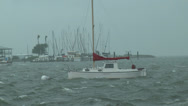 Stock Video Footage of Moored Boat in distress during a hurricane
