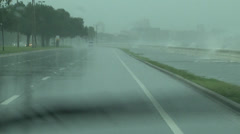 Driving in a Hurrican Stock Footage