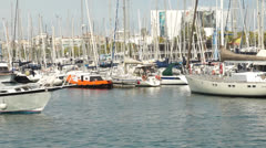 Ships in port vell Stock Footage