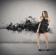 creative fashion style with motion effect - stock photo
