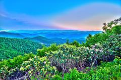 early morning on blue ridge parkway - stock photo