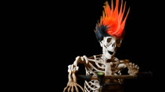 Skeleton biker on road ghost rider Stock Footage