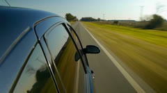 Driving a black car POV. Right side reference. Country road. Stock Footage