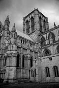 york minster in black and white - stock photo