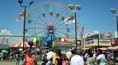 Coney Island beach boardwalk amusement park timelapse - stock footage
