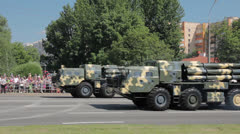 Military cars go on the street Stock Footage