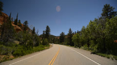 Bryce Canyon Driving LM05 Scenic Byway 12 Red Canyon Tunnels Stock Footage