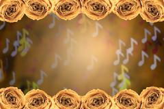 dry white rose frame on blur note bokeh background - stock photo