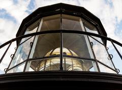 LIghthouse Lamp Room with Fresnel Lens - stock photo