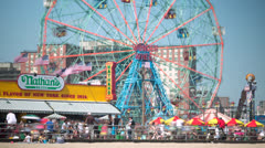 Coney Island beach boardwalk amusement park timelapse Stock Footage