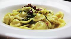 Gourmet italian pasta orecchiette Stock Footage
