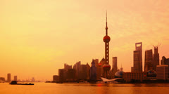 """Shanghai at dawn, time lapse(zoom out).>>>Please search more: """"ShanghaiSkyline"""" Stock Footage"""