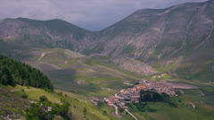 Town in valley Stock Footage