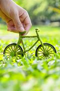 Green bicycle icon Stock Photos