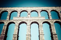 Ancient roman aqueduct of segovia at castile and leon, spain Stock Photos