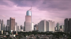 Jakarta city sunset Stock Footage