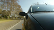 Stock Video Footage of Driving a car, windshield reflection. Hood side reference.