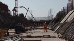 Concrete Boom placer civil construction PAL Stock Footage