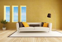 Stock Illustration of yellow living room