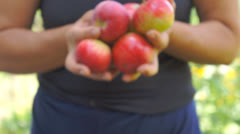 Giving apples away Stock Footage