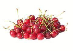 Cherry berries isolated on white background organic natural product garden Stock Photos