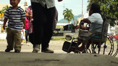 Beggar on Wheelchair Stock Footage