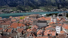 Panoramic view of Old Town of Kotor Stock Footage