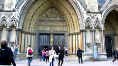 The Westminster Abbey church in London UK Stock Footage