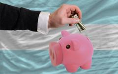 Dollar into piggy rich bank and  national flag of argentina Stock Photos