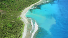 Forest, coconut plantation,beach and coral reef Stock Footage