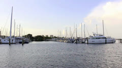 Wide shot of sailboats and yacht in Tampa Bay - stock footage