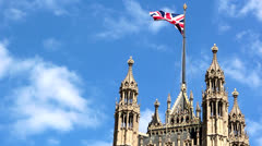 British flag over the Parliament house, Westminster Stock Footage
