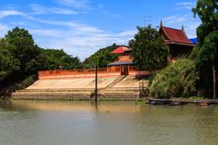 Thai traditional house along the river, living with natural take photo from r Stock Photos