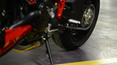 Closeup of a motorcycle  Stock Footage