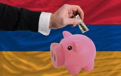 Dollar into piggy rich bank and  national flag of armenia Stock Photos