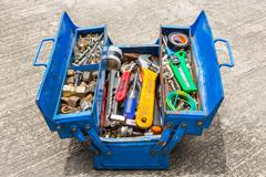 Hand tools in box Stock Photos