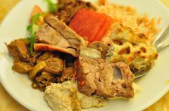 Biryani mutton on white plate - stock photo