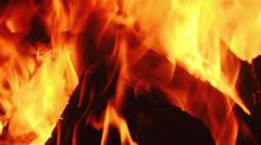 Firewood burning in furnace  Stock Footage