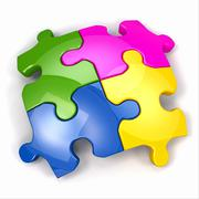jigsaw puzzle on white isolated background. - stock illustration