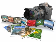 Photography. slr camera, film and photos. Stock Illustration