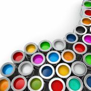 background from multi color cans of paint. - stock illustration