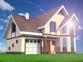 Stock Illustration of modern family suburban home on grass and sky background.