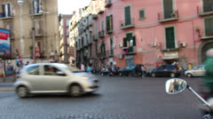 Naples busy street with tourist June 2013 Stock Footage