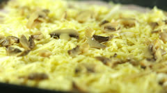Mushrooms on Cheese for Pizza Stock Footage