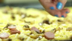 Preparing Pizza With Ingredients For Lunch close up Stock Footage